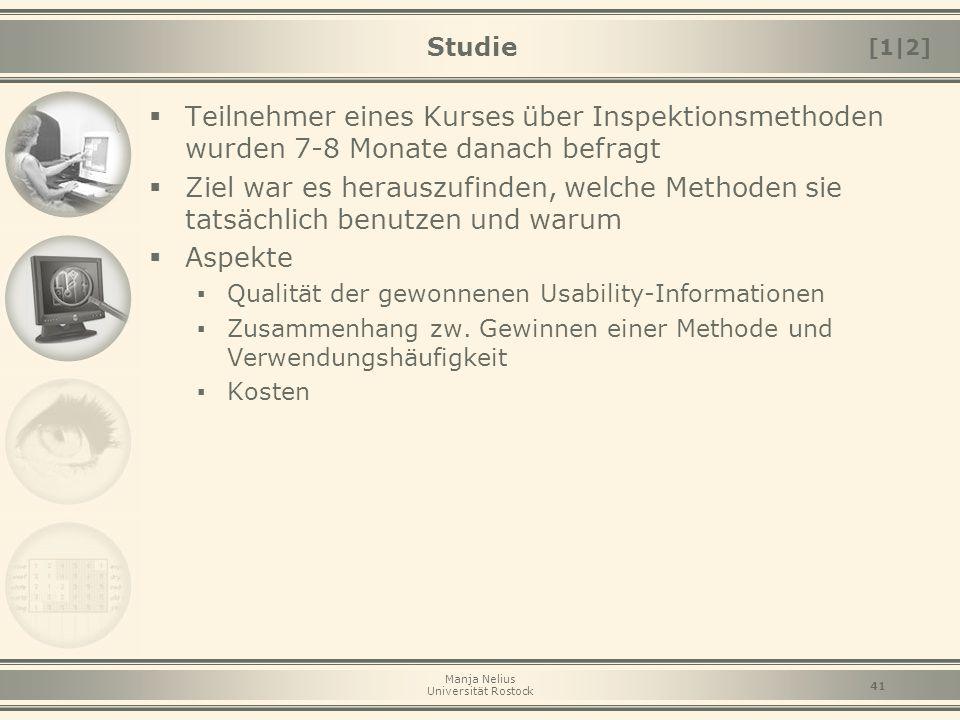 Studie [1|2] Teilnehmer eines Kurses über Inspektionsmethoden wurden 7-8 Monate danach befragt.